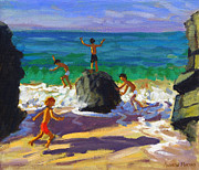 Climbing Rocks Porthmeor Beach St Ives Print by Andrew Macara