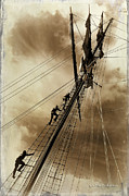 Photo Manipulation Photo Framed Prints - Climbing the mast Framed Print by Judy Tillson