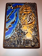 The Tiger Pyrography Framed Prints - Climbing Tiger Framed Print by Brandon Baker ArtZen