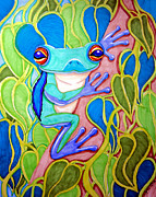 Frog Drawings - Climbing Tree Frog by Nick Gustafson