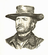 Clint Drawings - Clint Eastwood 1 by Vicki Knoll