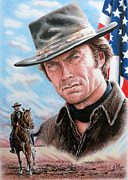 July 4th Drawings Prints - Clint Eastwood American Legend Print by Andrew Read