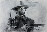 Celebrities Drawings Framed Prints - Clint Eastwood Framed Print by Viola El