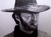 Paul Drawings - Clint Eastwood as El Rubio by Joel Smith