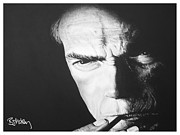 Clint Paintings - Clint Eastwood by Barry Mckay