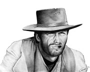 Graphite Drawings Prints - Clint Eastwood Print by Charles Champin
