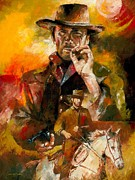 Cowboy Sketches Posters - Clint Eastwood Poster by Christiaan Bekker