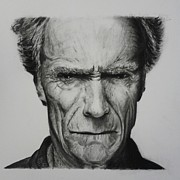 Dirty Harry Drawings - Clint Eastwood by Daniel Diehl