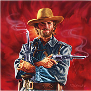 Movie Art Paintings - Clint Eastwood by Dick Bobnick