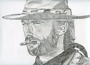 Cowboy Drawings Prints - Clint Eastwood Print by Eva Ason