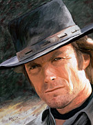Portraits Digital Art Acrylic Prints - Clint eastwood Acrylic Print by James Shepherd