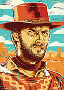 Plains Framed Prints - Clint Eastwood Pop Art Framed Print by Jim Zahniser