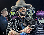 Clint Eastwood Art Paintings - Clint Eastwood - The Gorillaz by Tom Carlton