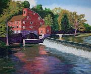 Waterfall Pastels Posters - Clinton Mill Poster by Marion Derrett