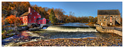 Old Mills Framed Prints - Clinton Red Mill House White Border Panoramic  Framed Print by Lee Dos Santos