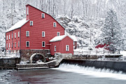 Clinton Red Mill In Snow With Geese Print by Rocco Chiara