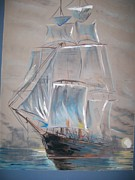 Ship Pastels Prints - Clipper In Mist Print by Peter Suhocke