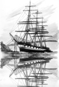 Sailing Ship Drawings Framed Prints - Clipper Ship Balclutha San Francisco By Framed Print by Jack Pumphrey
