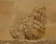 Brown Clipper Prints - Clipper Ship in brownstone Print by Sonny Perschbacher
