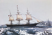 Seascapes Drawings Metal Prints - Clipper Ship Red Jacket in the ice off Cape Horn on her passage from Australia to Liverpool Metal Print by American School