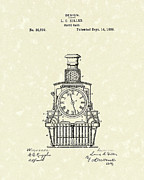 Clock Drawings Posters - Clock Case 1886 Patent Art Poster by Prior Art Design