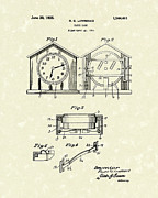 Clock Drawings Posters - Clock Case 1925 Patent Art Poster by Prior Art Design