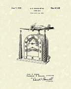 Clock Drawings Posters - Clock Case 1932 Patent Art Poster by Prior Art Design