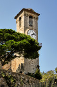 Medieval Village Prints - Clock Tower - Cannes - France Print by Christine Till
