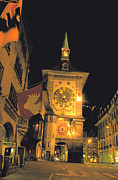 Emc2 Framed Prints - Clock Tower in Bern Framed Print by Carl Purcell