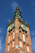 Town Clock Tower Posters - Clock Tower of Main Town Hall in Gdansk Poster by Artur Bogacki