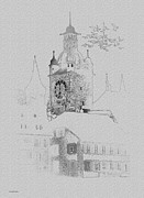 Lucerne Posters - Clock Tower Poster by Ron Jones