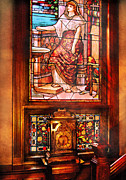 Stained Glass Window Photos - Clockmaker - An ornate clock by Mike Savad