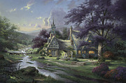 Dogwood Posters - Clocktower Cottage Poster by Thomas Kinkade