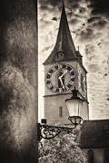 Town Clock Tower Posters - Clocktower View Poster by George Oze