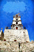 Knights Castle Painting Framed Prints - Clocktower with guarding knights painting Framed Print by Magomed Magomedagaev
