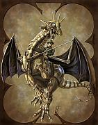 Rob Carlos Posters - Clockwork Dragon Poster by Rob Carlos