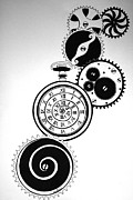 Clocks Drawings - Clockwork by Kelly Gin