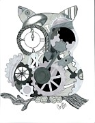Pen And Ink Drawing Prints - Clockwork Owl Print by Amanda Bright