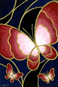 Paiting Framed Prints - Cloisonne Butterfly Framed Print by Elaina  Wagner