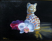 Lavonne Hand Framed Prints - Cloisonne Cat Framed Print by LaVonne Hand