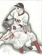 Baseball Drawings Posters - Close Call Poster by John Yablonsky