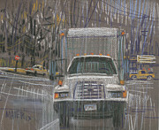 Truck Drawings Framed Prints - Close-Out Delivery Truck Framed Print by Donald Maier