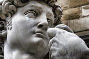 Youth Photo Prints - Close-up face Statue of David in Florence Print by David Smith