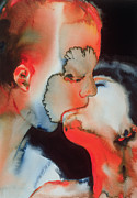 Sensual Lovers Paintings - Close Up Kiss by Graham Dean