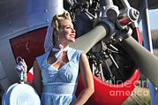 Pin Up Posters - Close-up Of A 1940s Style Pin-up Girl Poster by Christian Kieffer