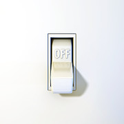Flip Framed Prints - Close up of a wall light switch in the off position Framed Print by Scott Norris