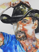 For Musicians Paintings - Close Up of Country Singer Tim McGraw by Chrisann Ellis