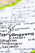 close up of Pyongyang on map-North Korea Print by Tuimages