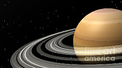 Three Dimensional Posters - Close-up Of Saturn And Its Planetary Poster by Elena Duvernay