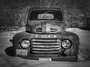 White Truck Framed Prints - Close Up Of The Old Timer Framed Print by Thomas Young